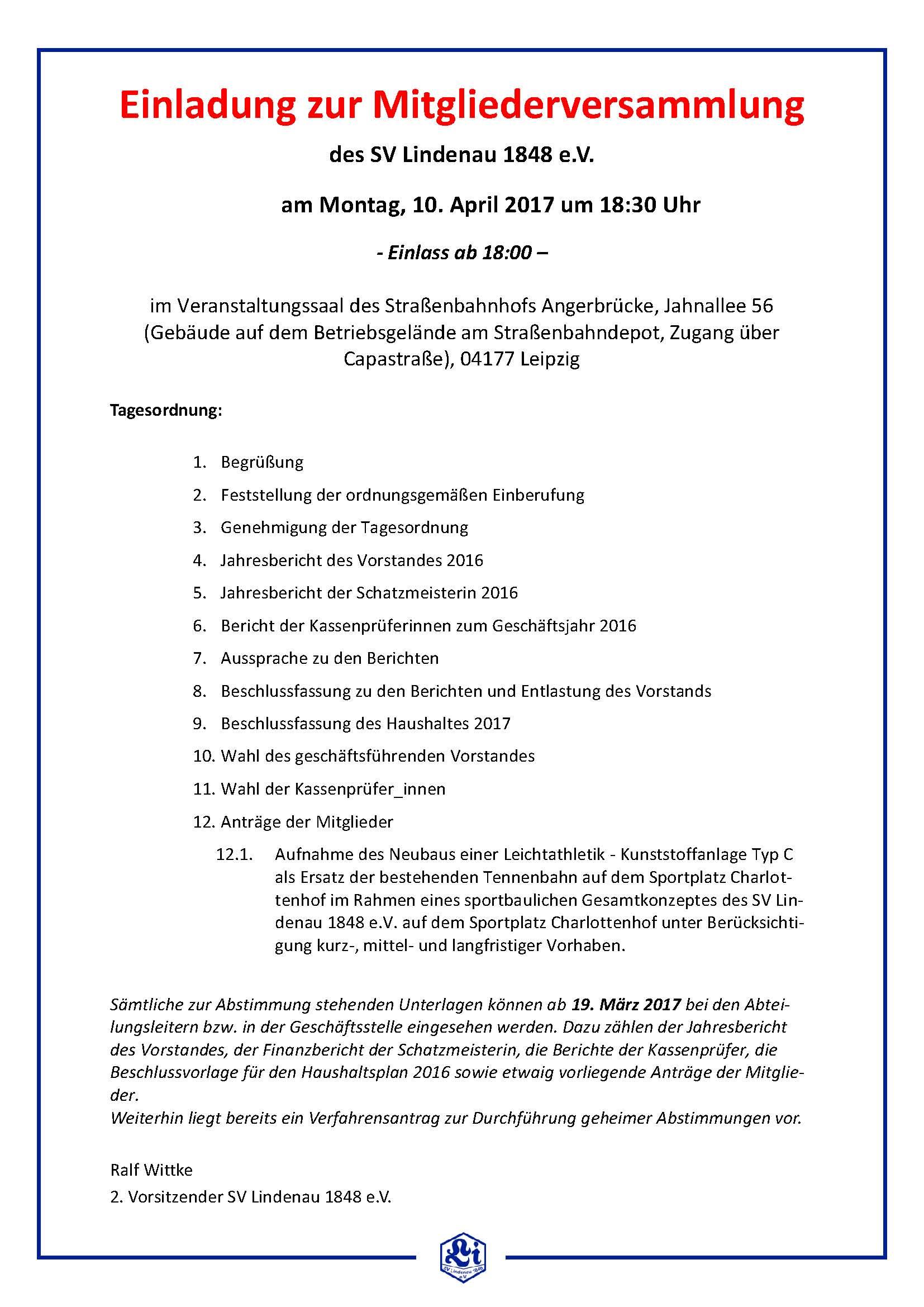 b-jugend archives - sv lindenau 1848 e.v. - fußball -, Einladung